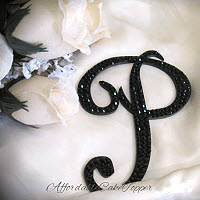 Swarovski Crystal Monogram Cake Toppers - Black Crystal Cake Topper