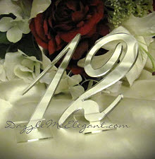 Wedding Table Decorations - Silver Table Numbers